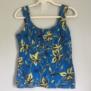 Ann Taylor blue and yellow floral tank top